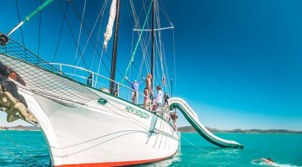 Once at anchor, play around on the 8m Waterslide